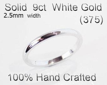 9ct 375 Solid White Gold Ring Wedding Engagement Friendship Half Round Band 2.5mm