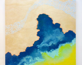 Artifacts Squared - Cloud Artifact - Blue Yellow and Green Abstract with baby blue Geos - Lauren Strom - Modern Abstract Landscape