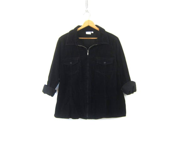 Black Corduroy Shirt 90s Long Sleeve Zip Up Shirt Jacket Slouchy Top Oversized Fall Shirt Coat Women's Plus Size 2X XXL
