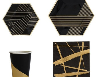 Black and Gold Foil Tableware