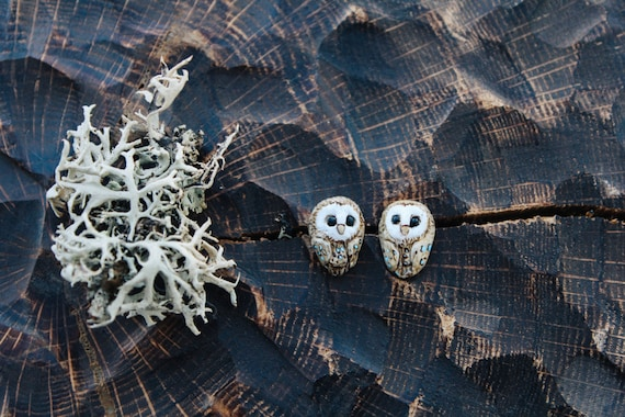 Owl Stud Earrings, Barn Owl Earrings, Cute Owl Stud Earrings, Polymer Clay Owl Earrings, Kawaii Jewelry, Tiny Owl Earrings, Bird Earrings