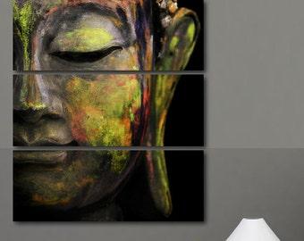 4 Panels Tranquil Buddha Canvas, Buddha Wall Art, Zen Canvas Wall Art Print, Buddhist Wall Art Picture, Large Canvas, Buddha Poster