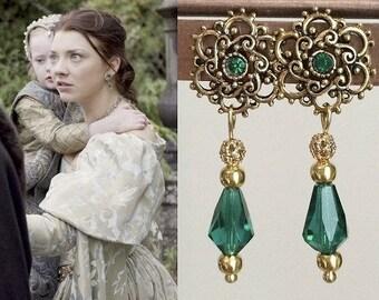 Anne Boleyn Emerald Swarovski Crystal Gold Flower Teardrop Earrings-