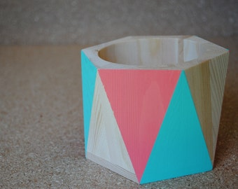 Natural Wood, Coral, and Teal Geometric Pencil Cup Pencil Holder