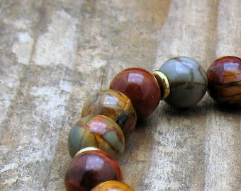 Red Creek Jasper Minimalist Beaded Stretch Bracelet        Unisex Under 150