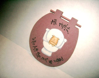 Cat Plaque Wood Toilet Seat Plaque Handmade USA Wall Hanging Whimsical Cat Bathroom Plaque Funny Wall Hanging White Elephant Party Gag Gift