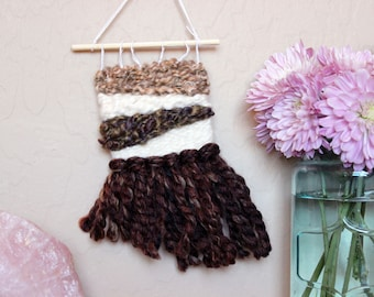 Mini Asymmetrical Wall Hanging - Brown Triangles Weaving - Miniature Woven Wall Hanging - Small Handwoven Tapestry - Dorm Room Decoration