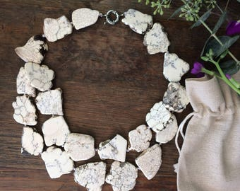 Chunky White Turquoise Necklace Double