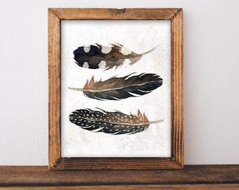 Feathers printable art, Tribal printable art, Tribal Nursery wall art, Nursery Art, Feather art, home decor printable tribal decor, baby boy