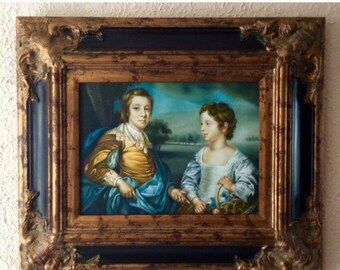 Sale Antique Style Oil Painting Portrait of ca.18th C. Young Children Royal Family European Genre O/C Art Framed