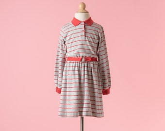 Vintage Health-Tex Heather Grey And Red Striped Jersey Knit Dress (Girls Size 6)