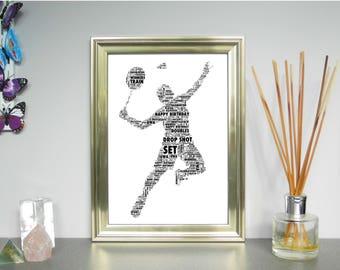 Personalised Word Art Print -  Badminton.  FREE UK P&P.  Sports,Word Cloud Picture. Word Collage, Digital art