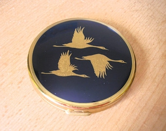 Vintage Powder Compact, Blue Powder Compact, Vanity Mirror, Swans, 1960s Cosmetics, Gift For Woman, Gift For Her, Gift For Girlfriend