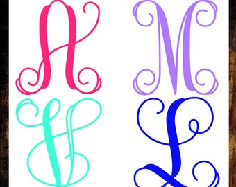 Single Letter Decal - One Letter Monogram - Script Monogram Decal - Initial Decal