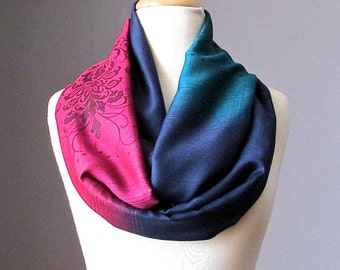 Ombre Infinity Scarf / floral scarf / ombre scarves / Navy / Emerald / Red  scarf
