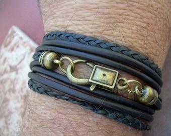 Leather Bracelet, Mens, Womens, Unisex, Triple Wrap,Triple Strand, Antique Bronze/ Antique Brown/Black, Mens Bracelet, Womens Bracelet