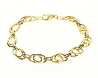 """14k Two Tone Layered Oval Link Chain Bracelet Gold 7.5"""""""
