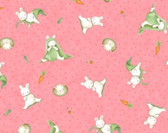 Children's Fabric Who's A Bunny tossed cotton  fabric in pink by Quilting Treasures