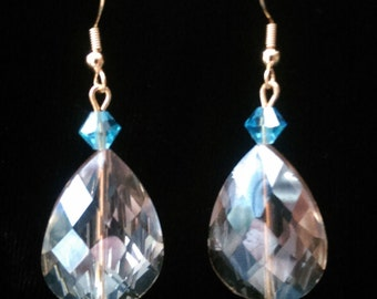 Champagne and Aqua Teardrop Dangle Earrings