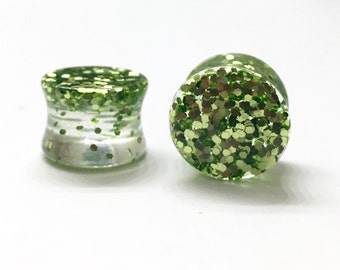 "14mm (9/16"") Lime Green Glitter Plugs - Double Flared - Stretched Ears"