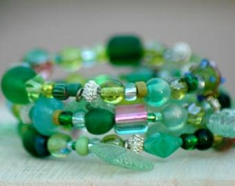 Beaded Green Memory Wire Bracelet