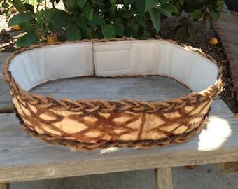 Handmade Authentic Tapa Cloth And Coconut Fiber Sennit Belt..Polynesian Tapa Cloth Belt