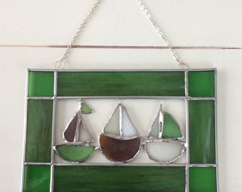 Sea Glass and Stained Glass Sailboat Suncatcher Hanging