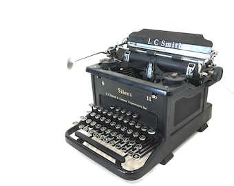 Vintage 1935 LC Smith Corona Silent 8 11 Typewriter, Vintage Industrial Office Equipment, Steampunk Home Decor