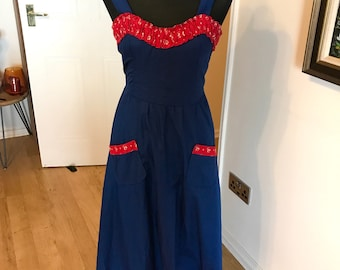 70s maxi dress navy with red trim pockets pin up retro rockabilly summer