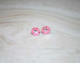 Pink Flower Studs -- Tiny Pink Flowers, Sterling Silver Studs