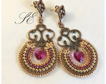 Fuchsia and beaded embroidery earrings, chandelier earrings with Swarovski crystals, hoop earrings, bead embroidery pendant earrings