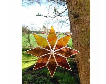 Stained Glass Orange Star Suncatcher Decoration