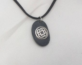 Irish Celtic Eternity Knot Beach Pebble Pendant Necklace