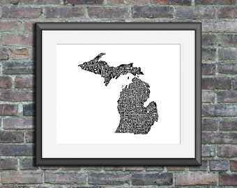 Michigan typography map art unframed print customizable personalized custom state poster wall decor engagement wedding housewarming gift