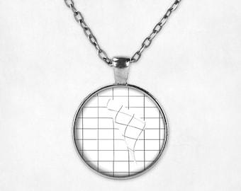 Grid Aesthetic Pendant Necklace. Aesthetic Necklace, Grid Necklace, Grunge Jewelry, Geometric Jewelry, Seapunk, Vaporwave