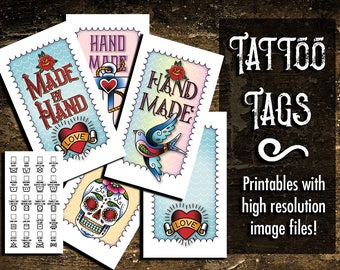 """Laundry Care Tags, Gift Tags, Tattoo-Style Art,  300 DPI, 2 x 3-1/2"""", Vector, PDF, and PNGs, Printables, Templates and Instructions"""