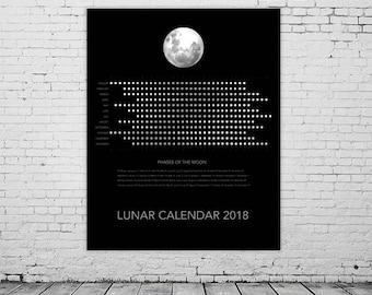 2018 Lunar Moon Calendar, Moon Phases Chart, Yearly Wall Calendar, Instant Download Printable Calendar 2018, Astrology, Space, Dark, Noir.