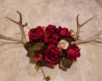 Antler wall hanging with roses
