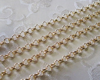Light Gold Plated Round Rolo Chain 4mm 375