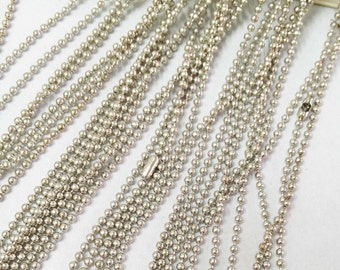 Ball Chains -10pcs White K Tone 1.5mm Ball Chain Necklace with Connector 70cm