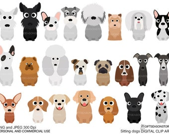 Sitting dogs digital clip art for Personal and Commercial use - INSTANT DOWNLOAD