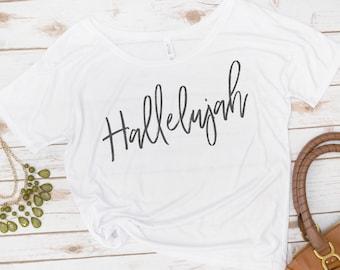 Hallelujah shirt, scoopneck, Jesus, Christian Tee, Bible,