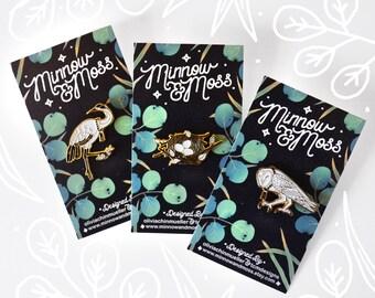 Set of 3 bird themed pins, Japanese Crane, Barn Owl and Bird's Nest Soft Enameled Pins, Art Jewelry by Minnow&Moss