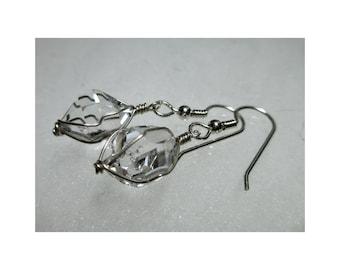 """ww1284 - 1/2"""" Wirewrap HERKIMER DIAMOND EARRINGS - Argentium Sterling Silver"""