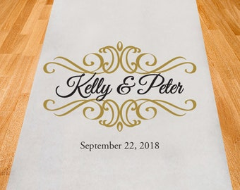Ornate Design Border Personalized Aisle Runner - Wedding Ceremony Aisle Runner (ppd1-D)