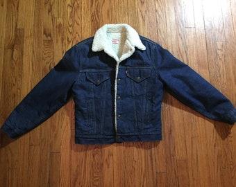 1970s Levis Sherpa Lined Denim Jacket Size 40 R