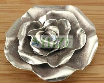 HIZE SF174 Thai Karen Hill Tribe Silver Wild Rose Flower Focal Pendant 45mm