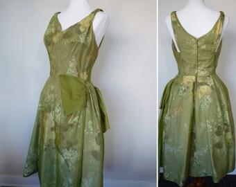 Vintage 50s green organza floral print dress with crinoline tea length