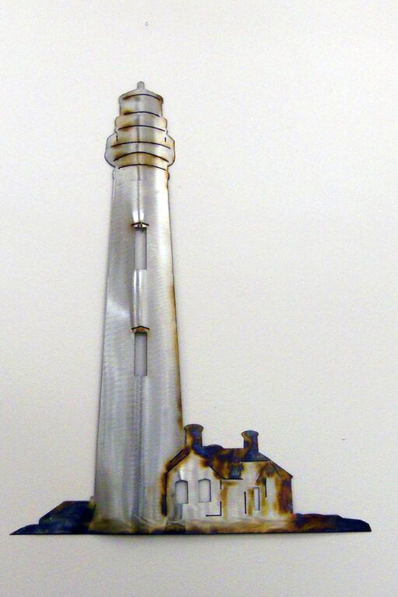 Lighthouse Metal Art Wall Sculpture in Stainless Steel