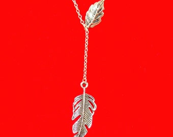 Lariat Necklace with Feather Pendant